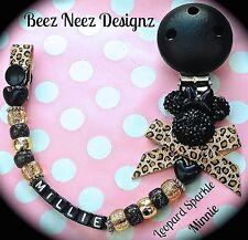 ❤ personalizzato il tuo nome scelta ❤ DUMMY CLIP ❤ Leopardo Sparkle ❤ BLACK & GOLD ❤