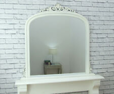 "Dayton Large Antique White Ornate Arched Overmantle Wall Mirror 43"" x 41"""