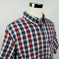 Woolrich Mens XL Short Sleeve Flannel Shirt Red White Blue Plaid Button Down