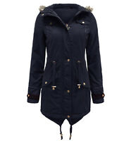 LADIES PARKA FUR OVERSIZED HOODED FISHTAIL PADDED WOMEN'S JACKET MILITARY COAT