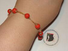 Vintage 14K SOLID  YELLOW GOLD PEACH ORANGE Bead Link Bracelet 7.25Lng  6 Grams