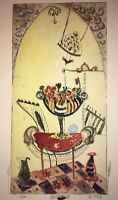 """Floral-Art-Prints-Bracha Guy-""""Etching Limited Edition One of One-Hand Colored"""