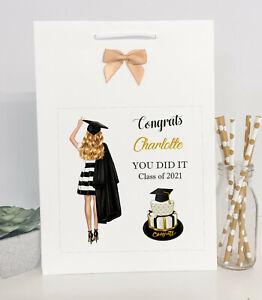 Personalised Congratulations Graduation Gift Bag Female Girl