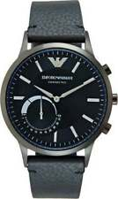 NIB Mens Emporio Armani Connected Black Leather Strap Hybrid Smart Watch ART3004