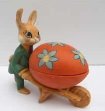 Vintage Easter Decor Candy Container Ceramic Easter Bunny With Wheelbarrow Egg