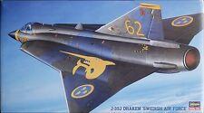 "SAAB J-35J DRAKEN ""Swedish Air Force"" HASEGAWA 1/72 PLASTIC KIT"