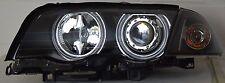 BMW E46 98-01 Saloon Touring Ccfl Angel Eye Halo Projector Headlights Rhd Black