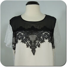 APT.9 Women's Blouse, Ivory with Black Lace Solid Gray Sides And Sleeves size XL