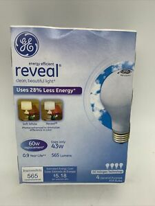 GE Lighting 60W Energy-Efficient Reveal A19 Halogen Bulb 43W 2-Pack