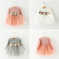Baby Little Girl Clothes Flower Dresses Kids Easter Princess 3-6-12-18-24 Months
