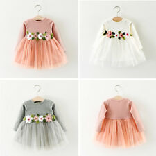 3ce5d003 Baby Little Girl Clothes Flower Dresses Kids Easter Princess 3-6-12-18