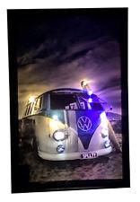 Vw Bulli Bus T2 Blue leinwandbild LED Leucht Bild Wandbild