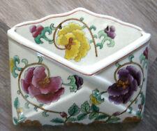 Envelope Shaped Ceramic Hand Painted Floral Wall Mount Pocket Letter/Mail Holder