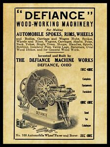 1910 Defiance Machine Works NEW Metal Sign: Auto Machinery - Defiance, OhiO