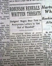JACKIE ROBINSON 1st Negro MLB Baseball Player Dodgers HATE MAIL 1947 Newspaper