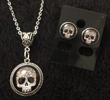 2pc SET Sugar Skull Day of the Dead Tattoo Necklace & Earrings Studs Rockabilly