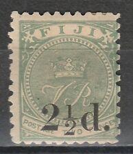 FIJI 1891 VR 21/2D OVERPRINT 1MM SPACING
