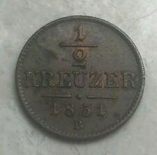 1851 B Austria 1/2 Half Kreuzer - Nice Uncirculated