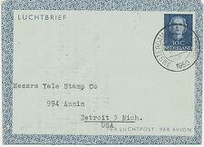 2402 NL 1950 Queen Juliana 30 C darkblue Air Letter (Aerogram) AMSTERDAM–DETROIT