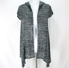 Justice Cardigan Sweater Girls Sz 18 Black White Open Front Short Sleeve Hooded