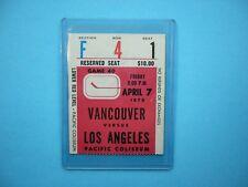 1977/78 VANCOUVER CANUCKS VS LOS ANGELES KINGS TICKET STUB SHARP DAVE TAYLOR RC