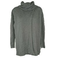 CABI 3167 Fergie Turtleneck Sweater Split Front Back Size XS Striped Black White
