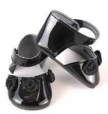 18 inch Girl Doll Clothes Shoes Black Patent Rosette Dress American seller