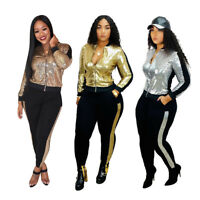 Women Sequin Tracksuits Elegant Long Sleeve Jacket and Pencil Pants 2 Piece Set