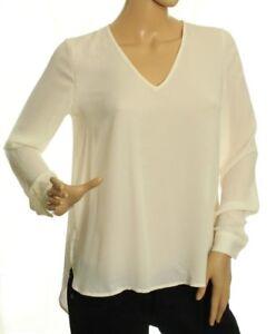 Bar III Women's Ivory Sheer High-Low Top Size M