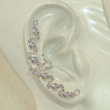 Wire Ear Wrap Ear Band Non Pierced Ear Cuff Long Fancy Beaded Sterling Silver