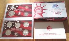 1999 Silver Proof Set U.S. Mint Box and COA 9 coins 5 State Silver Quarters