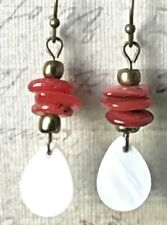 Summer Ocean Mother of Pearl and Shell Chip Dangle Earrings for Beach Lovers.