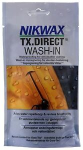 NIKWAX TX.DIRECT WASH IN WATERPROOFER, POUCH 100ML WET WEATHER CLOTHING
