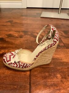 Miu Miu Red/Tan Espadrille Wedge Heels Shoes, Size 8.5 (US) 38.5 (IT)