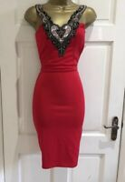 Brand New Womens Red Sequin Lace Strap Bodycon Party Evening Dress Sz 8