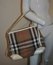 BURBERRY Bridle House Check & White Leather Small Canterbury Tote Bag ITALY AUTH
