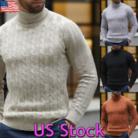 Mens Warm Slim Knitted High Neck Pullover Fashion Jumper Sweater Tops Turtleneck