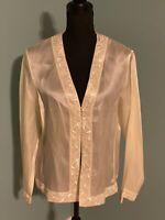 NWT Ann Taylor Ivory White 100% Silk Long Sleeve Beaded Cardigan Size 14