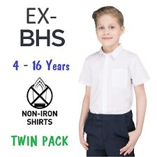 Ex BHS Boys School Shirt Twin-Pack White Short Sleeved Non Iron Ages 4-16
