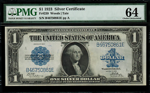 1923 $1 Silver Certificate FR-239 - Graded PMG 64 - Choice Uncirculated