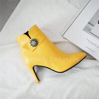 Elegant Ankle Boots Damen Stiefeletten Spitz Zehe Kurzer Stiefel High Heels Mode
