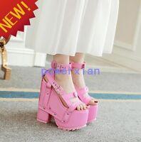 Womens Vintage Super High Wedge Platform Buckle Gothic Sandals Rivet Roman Shoes