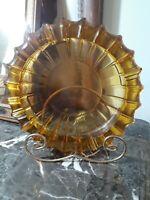 HUGE Blenko Honey Amber Glass Ashtray Trinket Dish