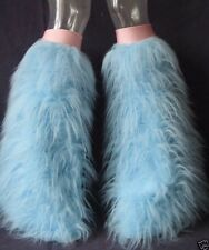BABY BLUE/PINK FLUFFIES FLUFFY LEGWARMERS BOOTS COVERS