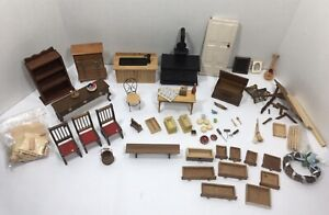 Vintage Dollhouse  wood  Furniture Lot