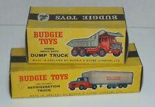BUDGIE TOYS 2 boites vides d'origine  Dump Truck - Refrigeration Truck