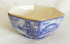 More details for hexagonal bowl ~ north east bridges ~ blue, white, gold ~ by wade for ringtons