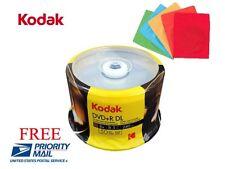 50 KODAK LOGO 8X Blank DVD+R DL Dual Layer Disc 8.5GB + 50 Color Paper Sleeves