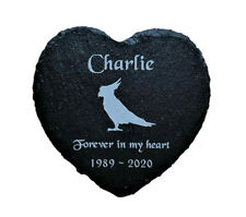Personalised Engraved Slate Heart Pet Memorial Grave Marker Plaque Bird Parrot