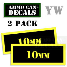 10MM Ammo Can Box Decal Sticker Set bullet Gun safety Hunting labels 2 pack YW